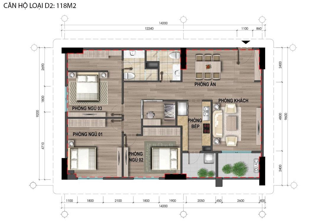 Thiết kế căn hộ D2 Nhà Bộ Công An Cổ Nhuế 2