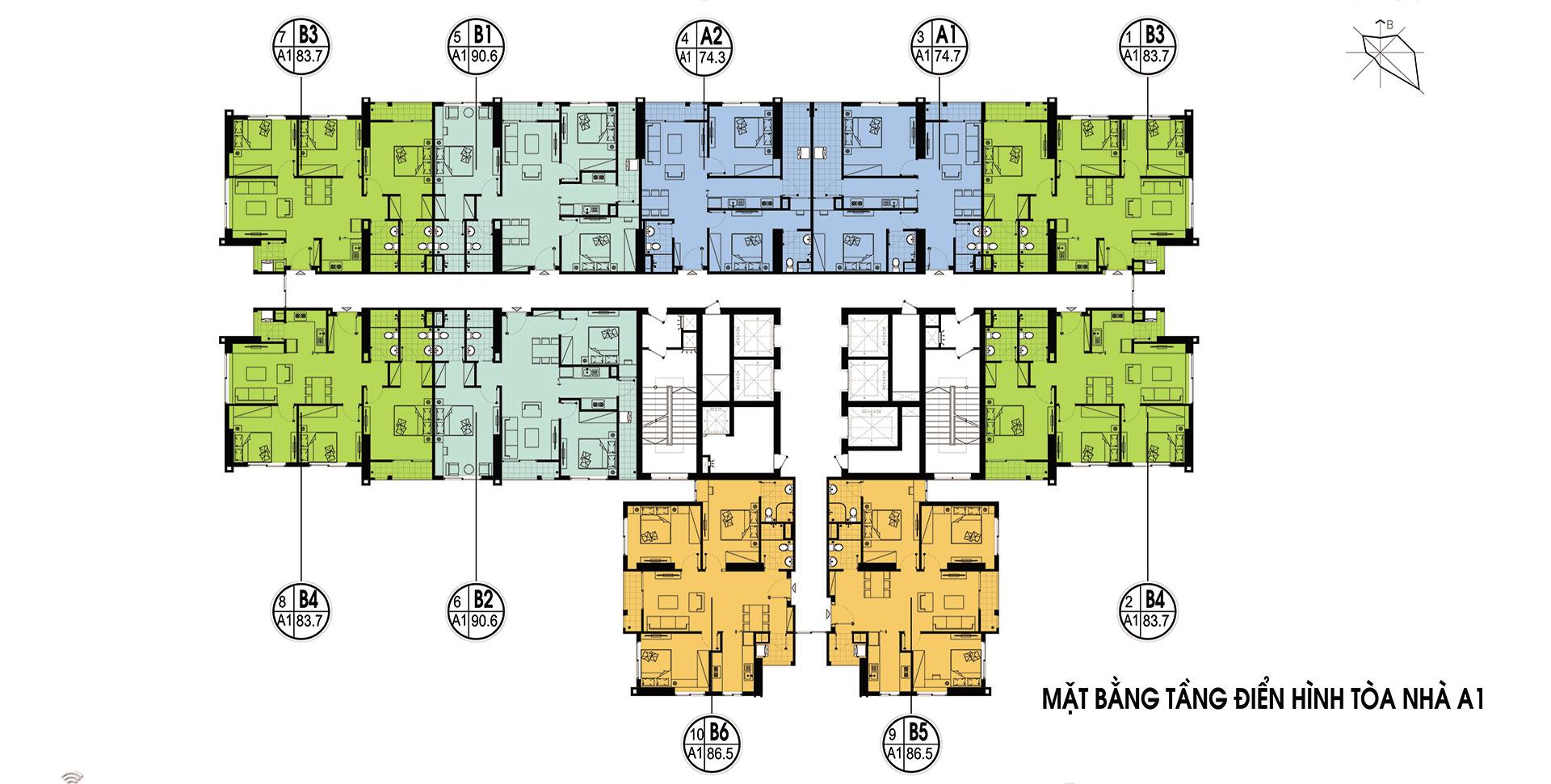 Mặt bằng thiết kế tòa A1- Chung cư An bình city