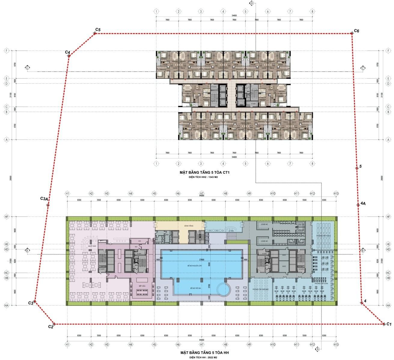 Mặt bằng tầng 5 tòa HH và CT1