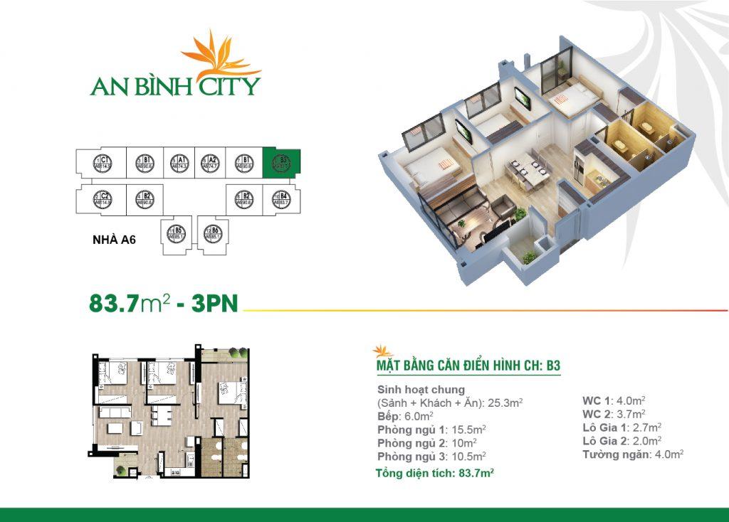 Mẫu căn hộ an bình city 3 phòng ngủ 83.7m2 B3