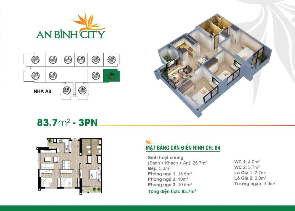 mẫu căn hộ an bình city 3 phòng ngủ 83.7m2 B4