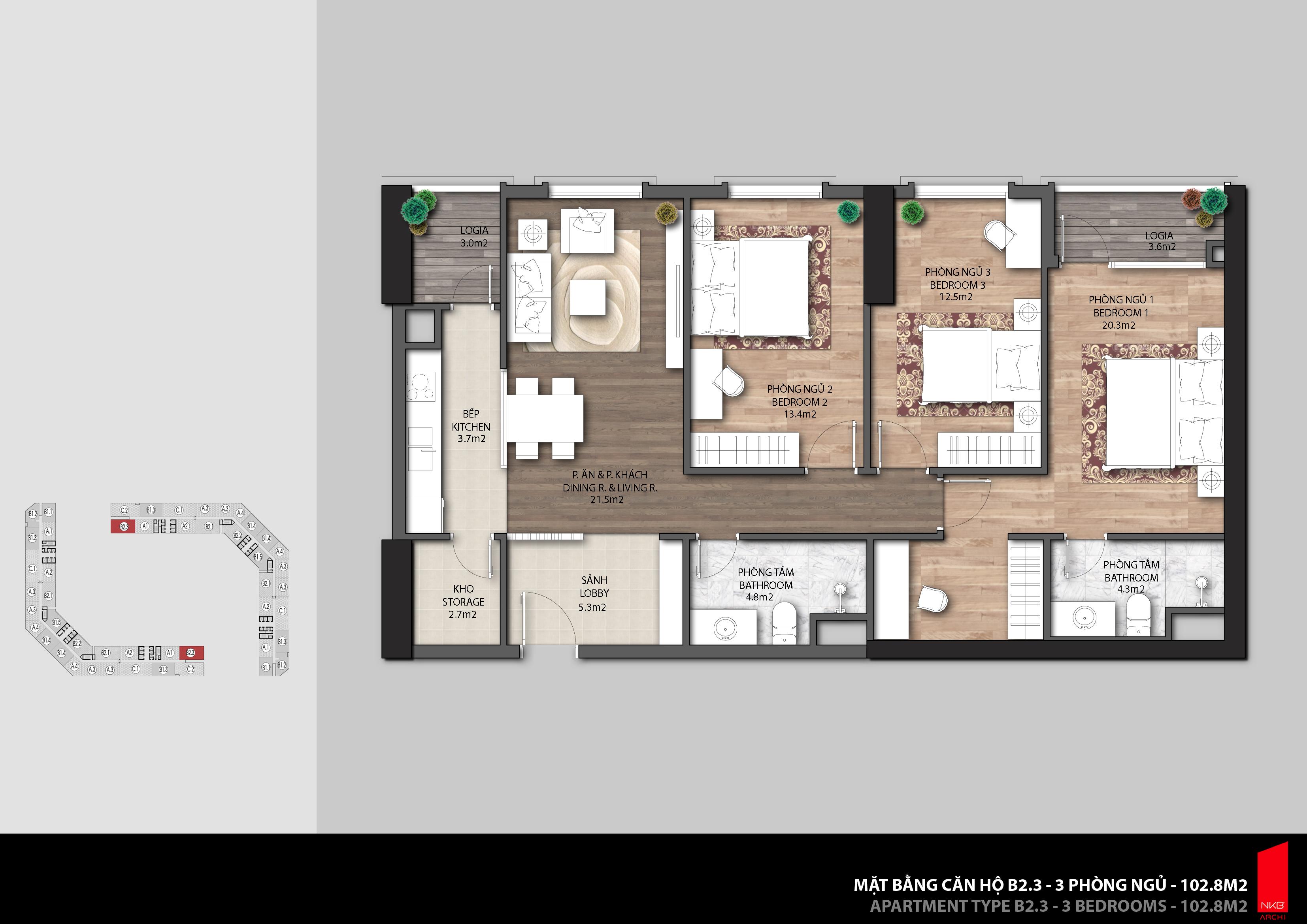 Thiết kế căn hộ The Emerald CT8 Mỹ Đình