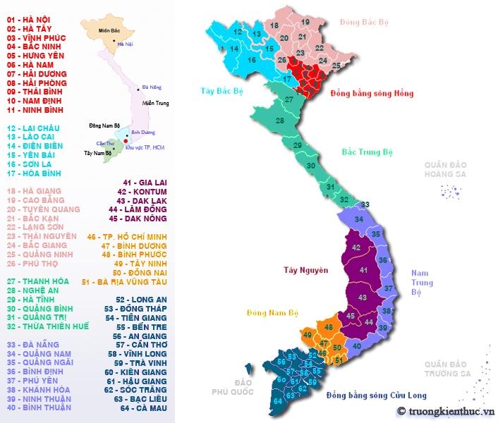 Danh sách tỉnh thành Việt Nam