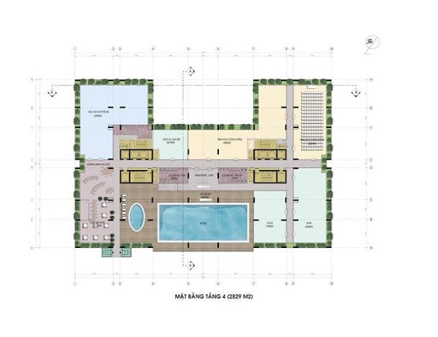 Mặt bằng tầng 4 chung cư riverside garden