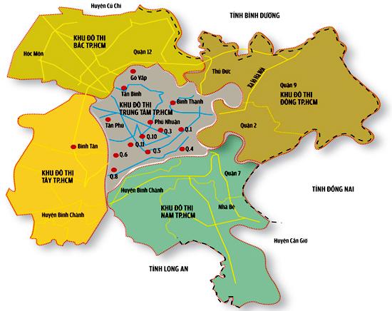 Bản đồ quận huyện TP HCM và vệ tinh các tỉnh lân cận